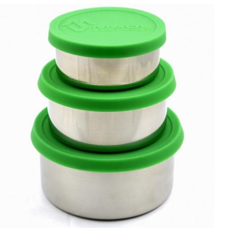RVS ronde lunchbox met siliconen deksel