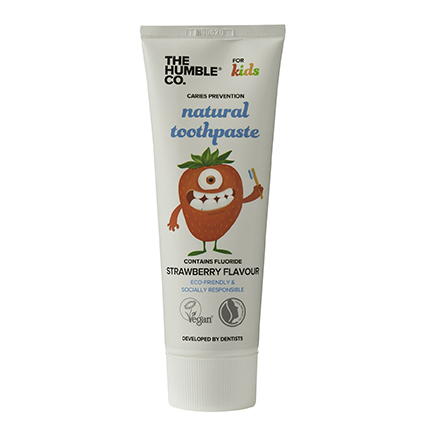 Tube natural tandpasta Kids Strawberry Flavour van The Humble Company