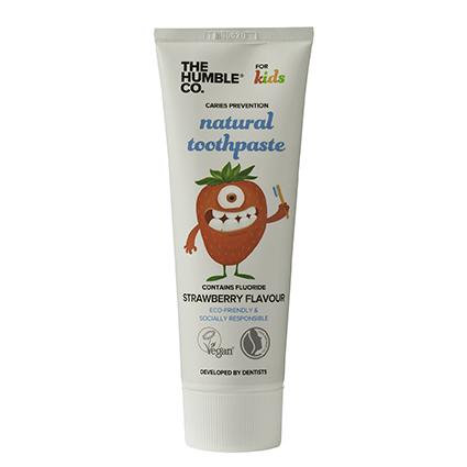 Tube natural tandpasta Kids Strawberry Flavour van The Humble Company